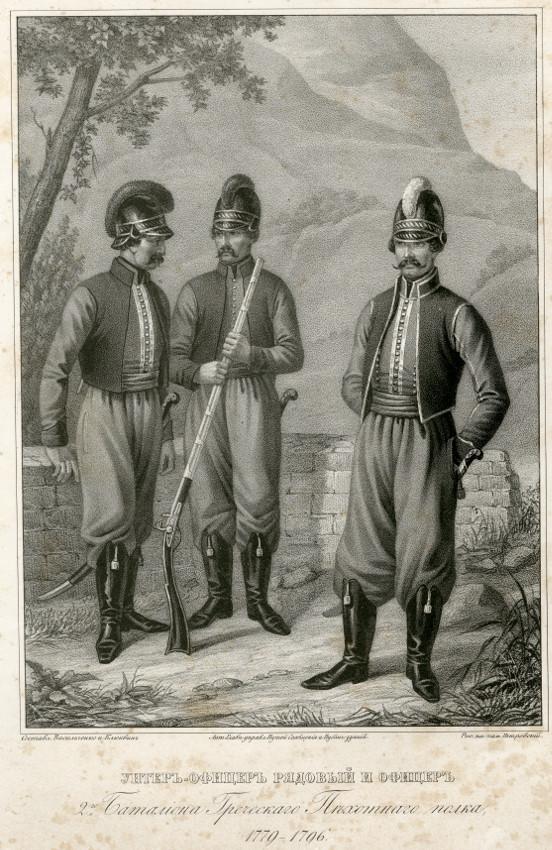Унтер-офицер, рядовой и офицер Балаклавского греческого пехотного полка