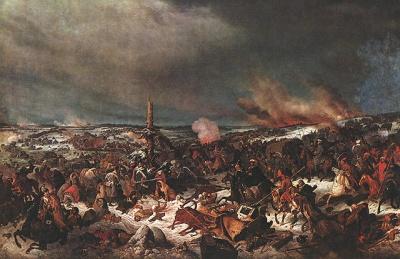 Сражение под Прейсиш-Эйлау 1807 г. Атака Московского полка. Худ. А. Ю. Аверьянов
